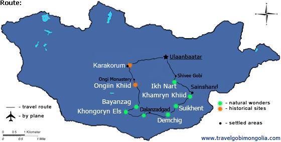 East-South-gobi-desert-tour-map - Travel Gobi Mongolia