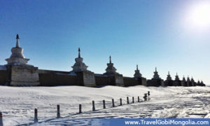 wall of the Erdene Zuu Monastery  in winter