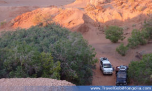 Our company cars in the bottom of the Khermen Tsav Canyon