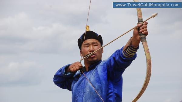 Mongolian archery is aiming the target during Naadam Festival in Ulaanbaatar