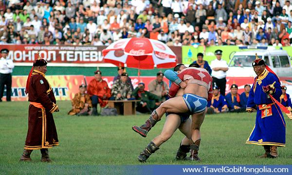 Mongolian traditional wresting during Naadam Festival