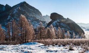 Turtle Rock at Gorkhi-Terelj National Park winter view