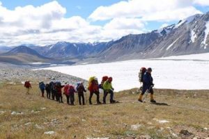 customers are trekking to Altai Tavan Bogd from the base camp