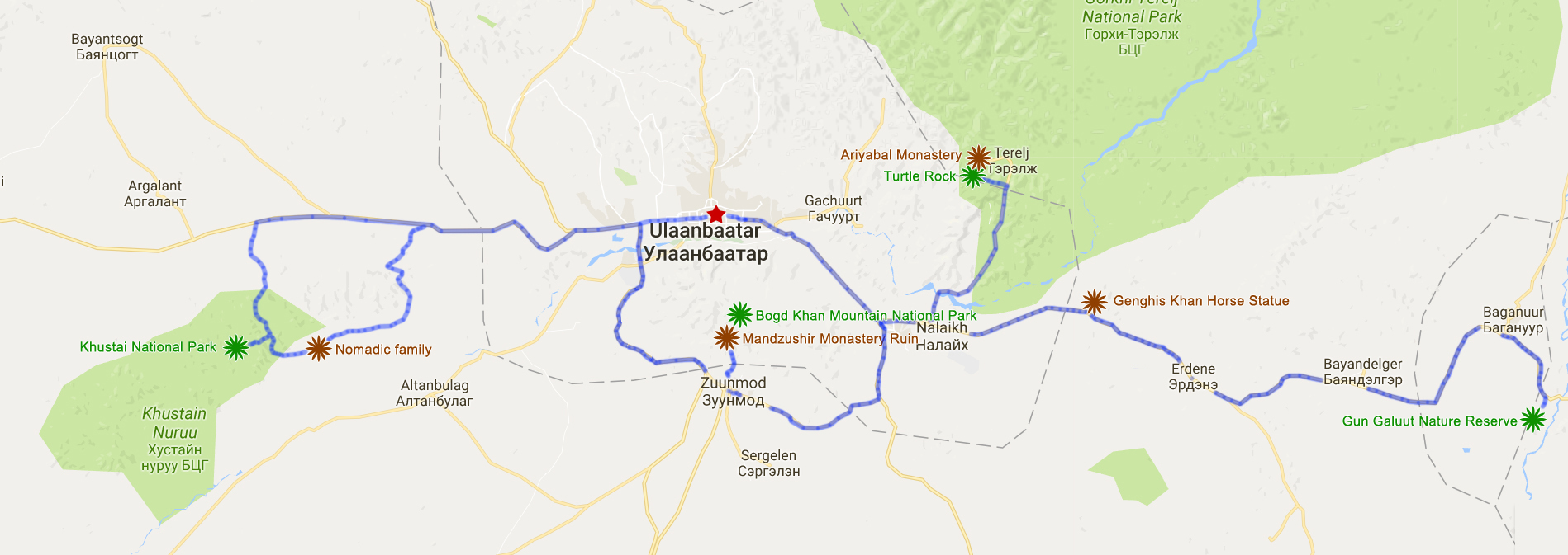 map of All Bests Around Ulaanbaatar Tour Travel Gobi Mongolia