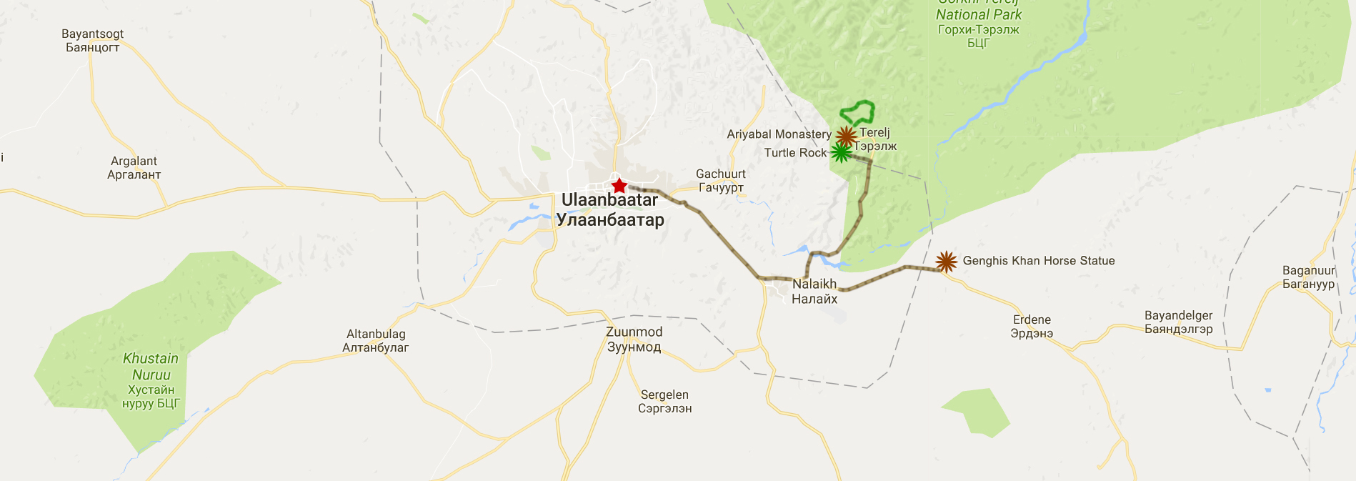 The tour map. Locations of Gorkhi-Terelj National Park & Genghis Horse Statue. Green line is horse riding place.
