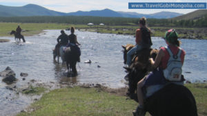 tourists usually ride horses in the Orkhon Valley