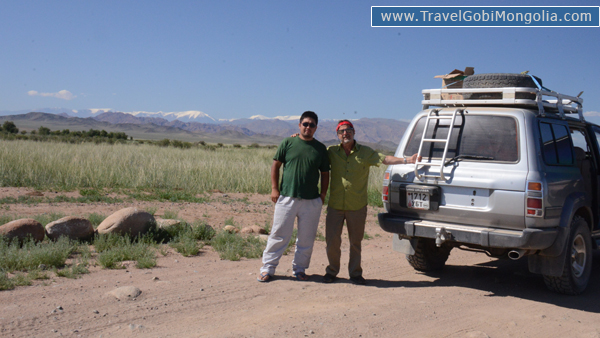 our driver with our customer in West Mongolia
