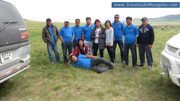 our drivers with our customers in Central Mongolia