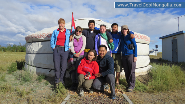 our guide & driver with our customers in Gobi Desert