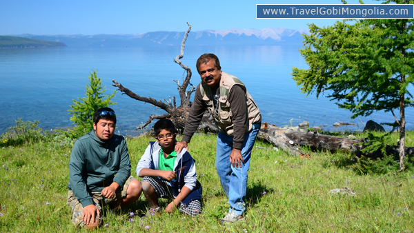 our guide & our 2 customers are in Khuvsgul Lake