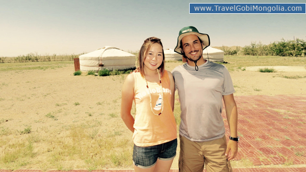 our guide with our customers in East Gobi