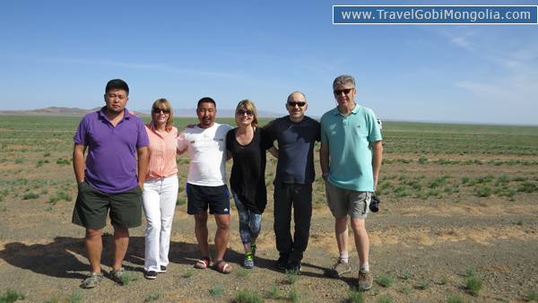 our guides with our customers in Gobi Desert