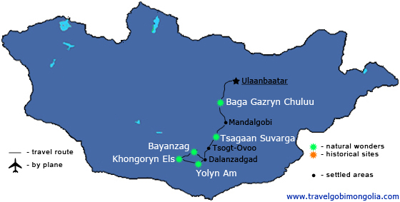 Gobi best 5 attractions tour map