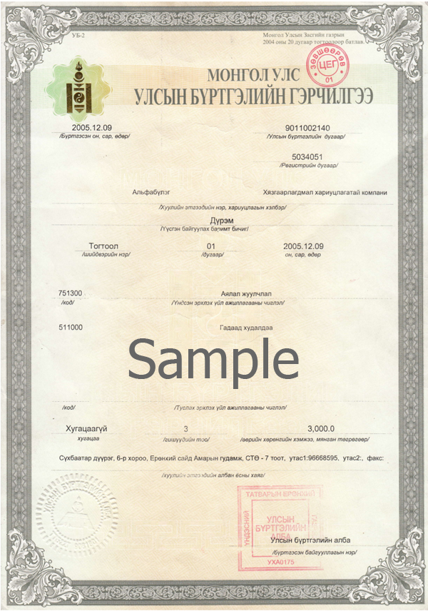 Alpha Team Tours company license