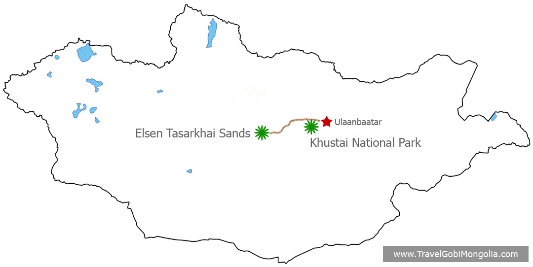 Elsen Tasarkhai Sands & Khustai National Park Tour map