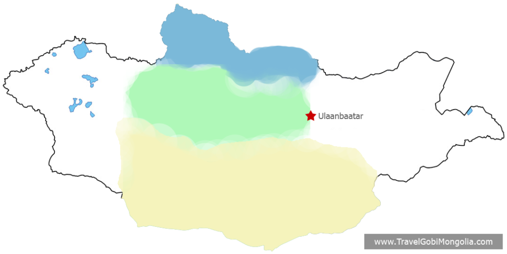Gobi Deser, Central Mongolia & North Mongolia map
