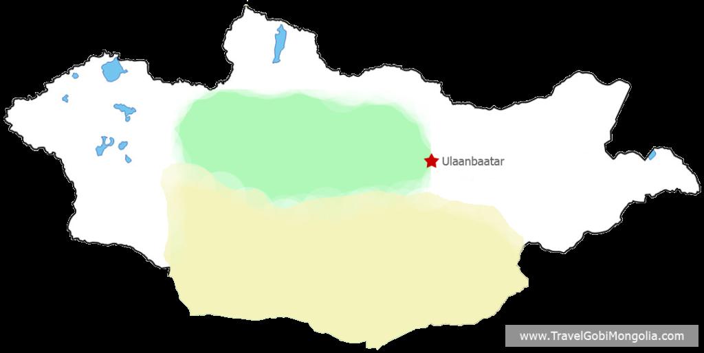 Gobi Desert & Central Mongolia map