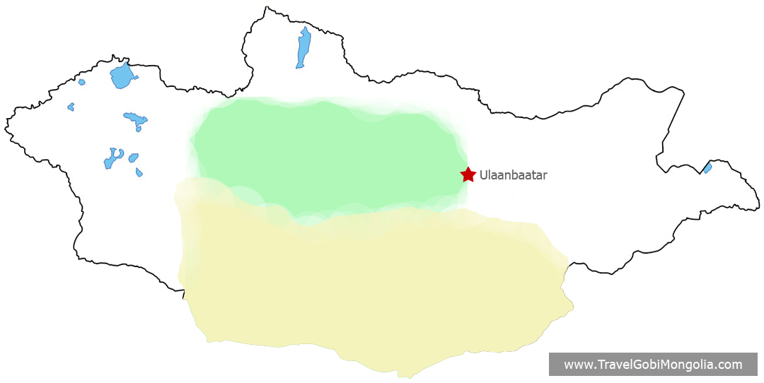 Gobi Desert & Central Mongolia map