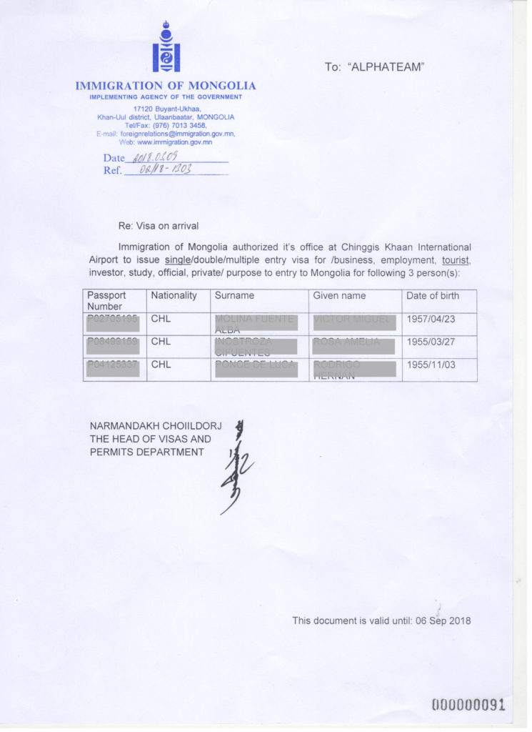 Visa on arrival approval letter example of Immigration of Mongolia