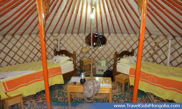 inside view of the ger of Mongol Gobi tourist ger camp