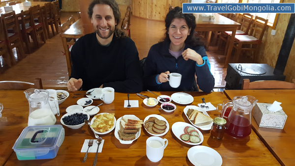 our customers are taking the breakfast in the tourist ger camp