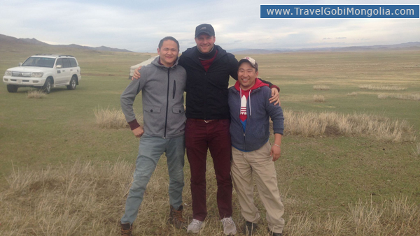 our driver & guide with our customer at Khustai National Park