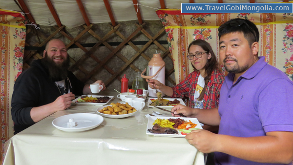 our guide with our customers lunch restaurant Smoke & Steppe