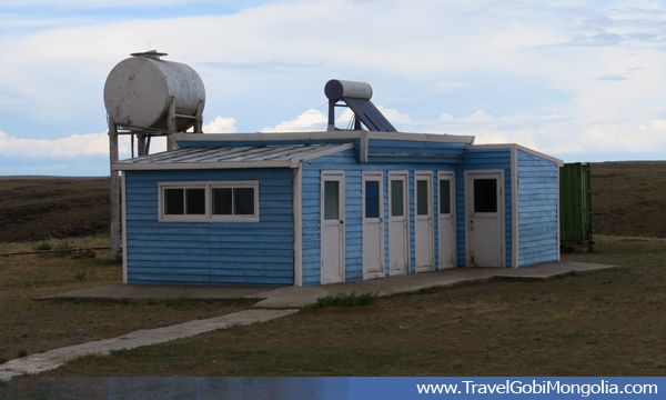 Shower and toilet facility building of Erdene Ukhaa tourist ger camp at Baga Gazar Rocks, Middle Gobi Desert.