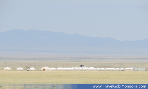 view of Mongol Gobi tourist ger camp from Bayanzag