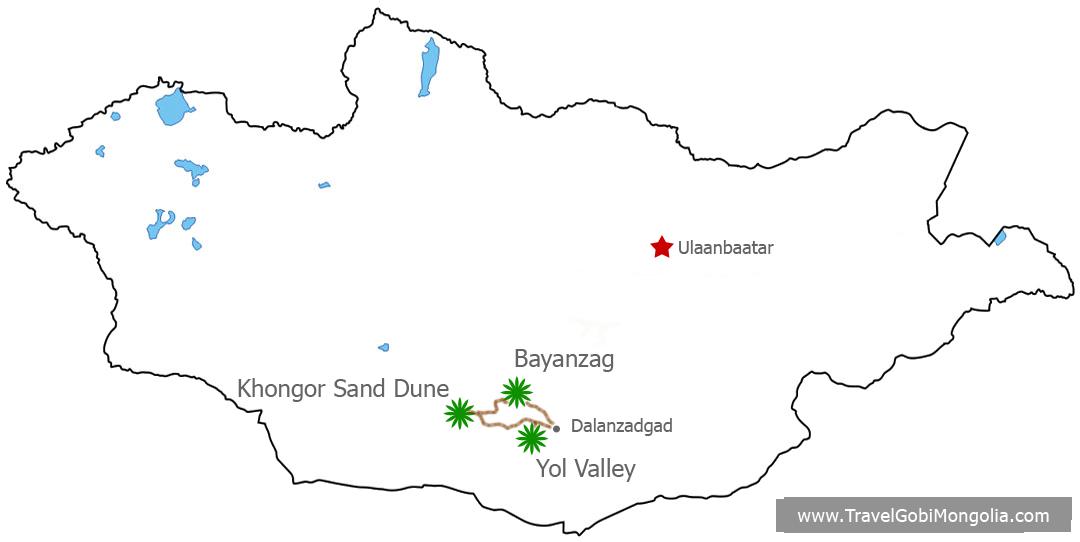 map of Join Tour Of Gobi Desert